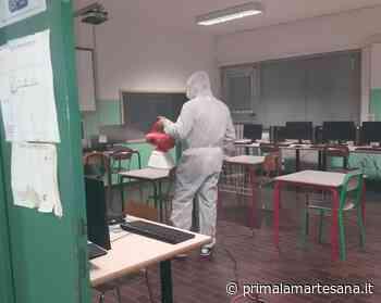 Operazione di sanificazione nella scuola media di Cambiago - Prima la Martesana