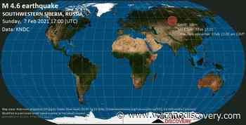 Quake info: Moderate mag. 4.6 earthquake - 12 km west of Belovo, Kemerovo Oblast, Russia, on Monday, 8 Feb 2021 12:00 am (GMT +7) - VolcanoDiscovery