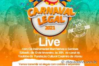 Em Casimiro de Abreu, carnaval será virtual com live neste deste sábado (13) pela plataforma youtube - Clique Diário
