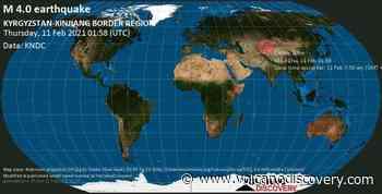 Quake info: Moderate mag. 4.0 earthquake - 92 km southwest of Kyzyl-Suu, Jety - Oguz, Issyk-Kul, Kyrgyzstan, on Thursday, 11 Feb 2021 7:58 am (GMT +6) - VolcanoDiscovery