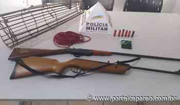 Armas e armadilha de caça apreendidas em Espera Feliz - portalcaparao.com.br