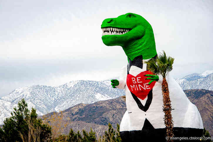 Be Mine: Cabazon Dinosaurs Get Valentine's Makeover