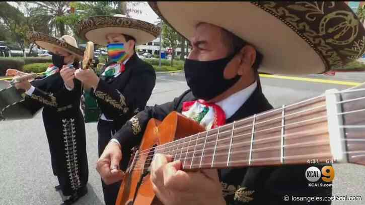 Mariachi Band Performs For Coronavirus Patient Outside Of A Fullerton Hospital