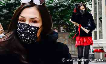 Famke Janssen looks stunning as she steps out in NYC donning black coat and red skirt - Daily Mail