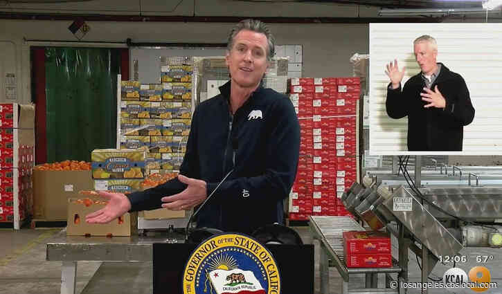 Gov. Gavin Newsom Heaps Praise On Farm Workers While Visiting Vaccination Site In Coachella Valley