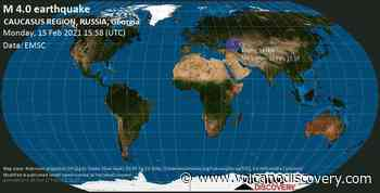 Quake info: Light mag. 4.0 earthquake - 46 km north of Grozny, Tschetschenien, Russia, on Monday, 15 February 2021 at 15:58 (GMT) - VolcanoDiscovery