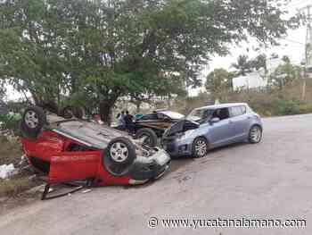 Conductora termina con auto de cabeza en Montecristo por ignorar un alto - Yucatán a la mano