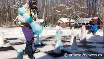 Ice cold checkmate: Manotick family builds life-sized chessboard in backyard - CTV News Ottawa