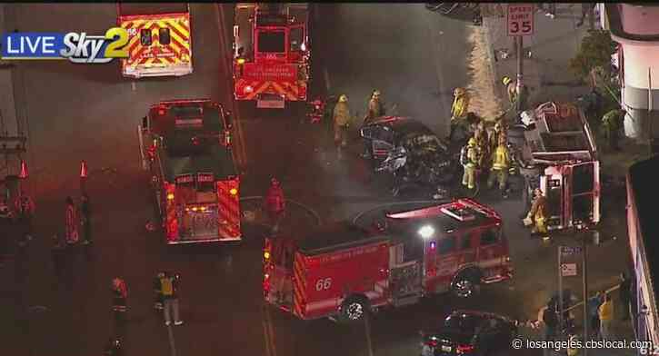 Several Injured In Crash Involving Ice Cream Truck That Sparked Car Fire In South Los Angeles