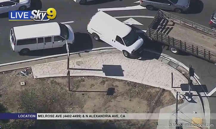 Stolen White-Panel Van Leads Car Chase In Downtown LA