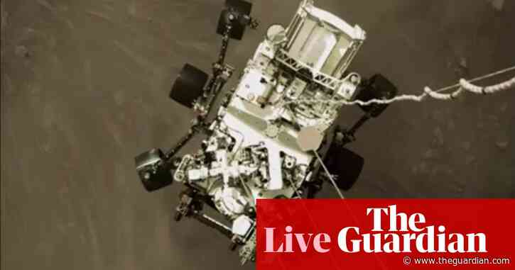 Nasa scientists release new image of Perseverance rover on Mars at news briefing – live