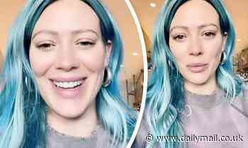 Hilary Duff shows off new electric blue hair... and details ways to help her home state of Texas