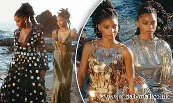Chloe x Halle dazzle by the sea in gold and silver as they retell Nigerian folktale
