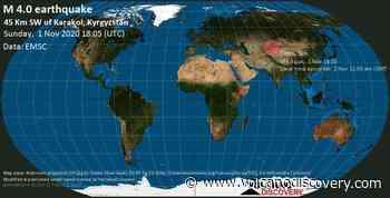 Quake info: Moderate mag. 4.0 earthquake - 15 km south of Kyzyl-Suu, Jety - Oguz, Issyk-Kul Region, Kyrgyzstan, on Monday, 2 Nov 2020 12:05 am (GMT +6) - VolcanoDiscovery