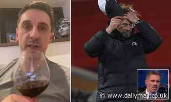 Gary Neville mocks Liverpool and Jamie Carragher as he toasts Liverpool's fourth straight home loss
