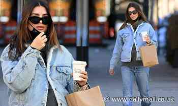 Emily Ratajkowski flashes her growing bump in double denim as she hits up a grocery store in NYC