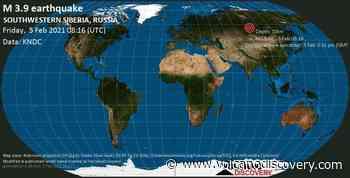 Quake info: Moderate mag. 3.9 earthquake - 22 km northwest of Zheleznogorsk, Krasnoyarskiy Kray, Russia, on Friday, 5 Feb 2021 3:16 pm (GMT +7) - VolcanoDiscovery