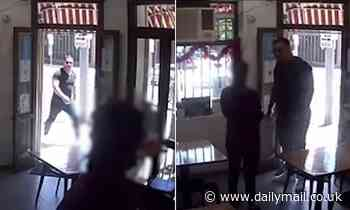 Disturbing moment thug follows woman into a Sydney cafe and attacked her after road rage incident