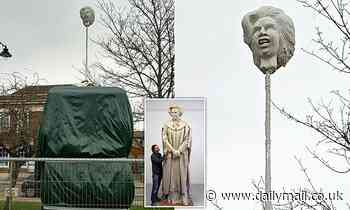 Artist puts model of Margaret Thatcher's HEAD on spike in Grantham