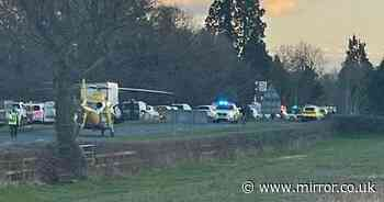 Man and woman killed in horror six-vehicle car crash with two men in hospital