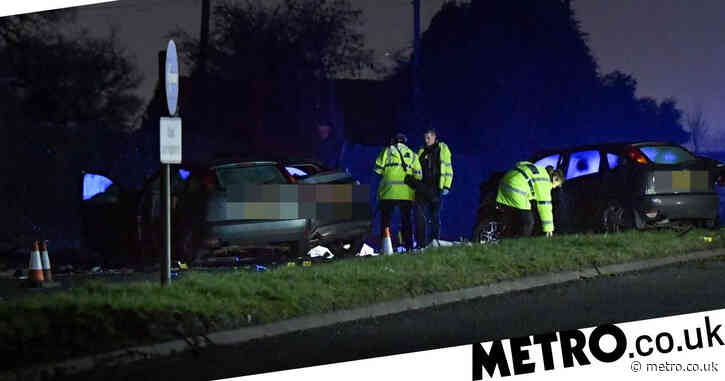Man and woman killed in six-car crash as two others in hospital