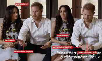 'US style' Prince Harry while 'demure' Meghan Markle 'gazes at him with admiration'