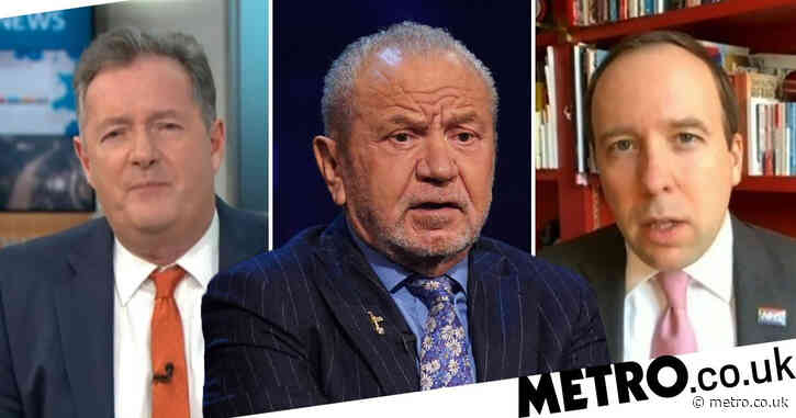 Lord Alan Sugar trolled for Matt Hancock mishap during rant at 'spiteful p***k' Piers Morgan