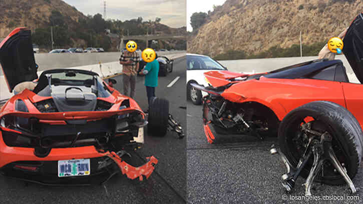 McLaren Heavily Damaged After Apparent Race Against Lamborghini On 101 Freeway Ends In Crash