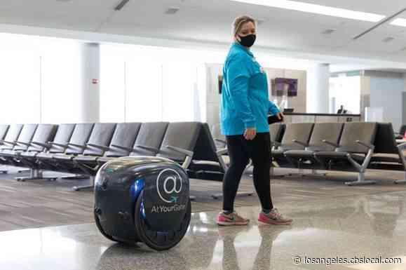 Robot Delivering Passengers' Food At Philadelphia International Airport
