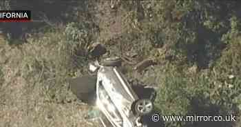 Horror pics of Tiger Woods car crash show golf legend's vehicle 30ft from road