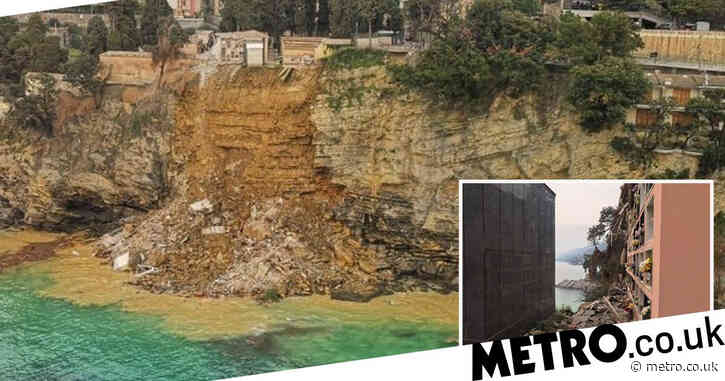 Hundreds of coffins plunge into sea as clifftop cemetery collapses