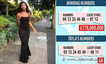 Teenager missed out on £178m EuroMillions jackpot when ALL of her numbers were out by ONE digit