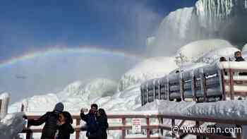 See Niagara Falls partially covered in ice