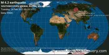 Quake info: Moderate mag. 4.2 earthquake - 33 km southeast of Barnaul, Altay Kray, Russia, on Tuesday, 16 Feb 2021 12:33 pm (GMT +7) - VolcanoDiscovery