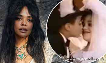 Tessa Thompson had her first kiss 'immortalized' while starring in a music video at six-years-old