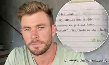 Chris Hemsworth shares sweet creative writing task his son Tristan, six, wrote at school
