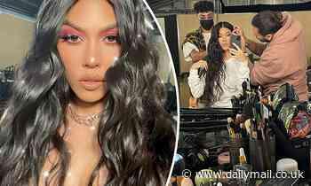Kourtney Kardashian shares a glammed up selfie as she teases a secret SKIMS collaboration