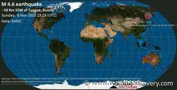 Quake info: Moderate mag. 4.6 earthquake - 75 km south of Okha, Okhinskii, Sakhalinskaya oblast', Russia, on Monday, 9 Nov 2020 12:29 am (GMT +11) - VolcanoDiscovery