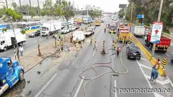 San Borja: triple choque ocasionó derrame de petróleo en la Panamericana Sur   Panamericana TV - Panamericana Televisión
