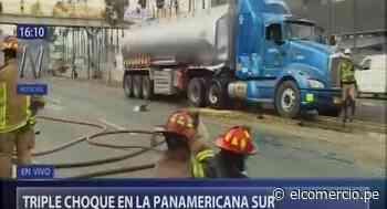 San Borja: triple choque en Panamericana Sur deja tres heridos y causa derrame de petróleo   VIDEO - El Comercio Perú