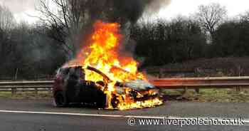Emergency services race to scene as car bursts into flames on M6