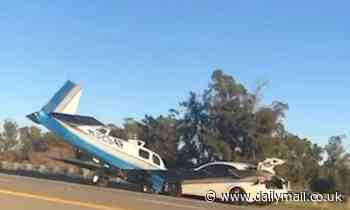 Small plane crashes into a CAR as it makes an emergency landing on California highway