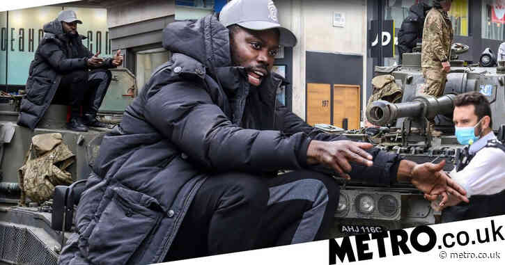 Ghetts rides self-propelled gun through Central London as he pushes for number one for Conflict Of Interest
