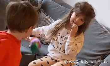 Adorable little boy insists on sharing everything with his sister