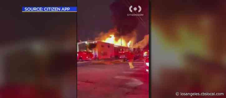 Raging Fire Destroys Commercial Building In South LA
