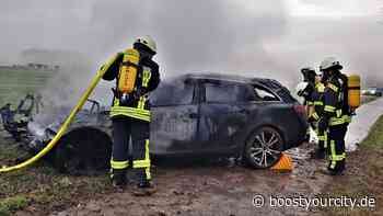 PKW nach Unfall auf der K31 bei Essenheim komplett ausgebrannt | BYC-News Rheinhessen Online-Zeitung - Boost your City