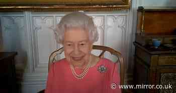 Queen makes touching gesture to Prince Philip with brooch in latest video call