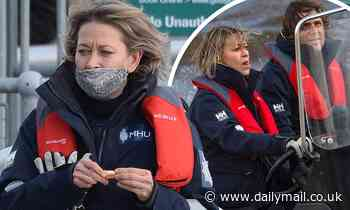 Nicola Walker is pictured racing down the river Cyde in Glasgow on set of her new crime drama Annika