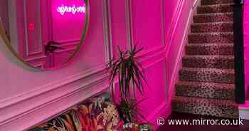 Savvy mum transforms dull family home into pink palace with leopard print stairs