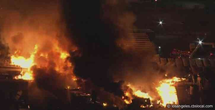 Massive Blaze Breaks Out At Pallet Yard In Compton